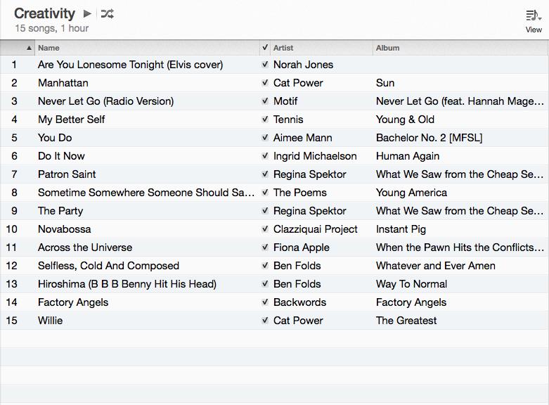 creavity playlist #1